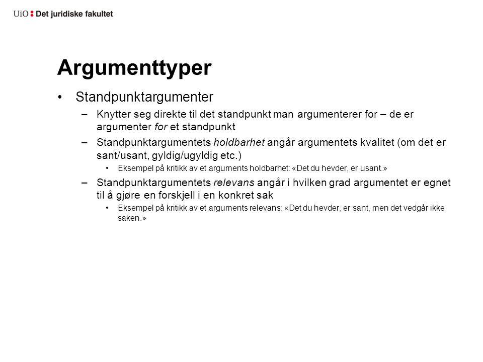 Argumenttyper Standpunktargumenter