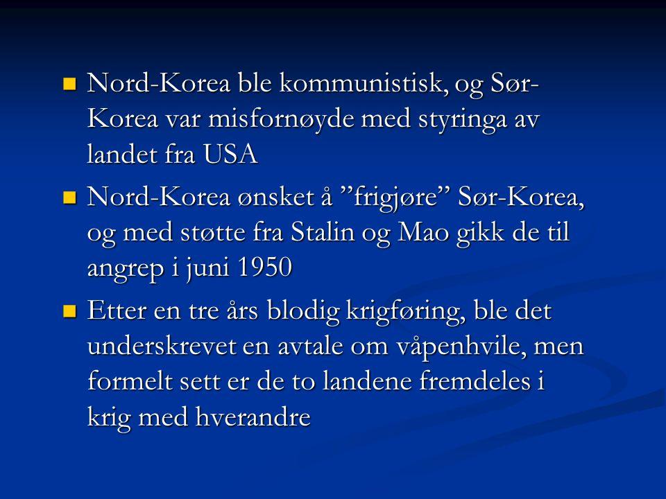 Nord-Korea ble kommunistisk, og Sør-Korea var misfornøyde med styringa av landet fra USA