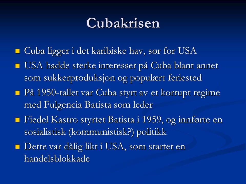 Cubakrisen Cuba ligger i det karibiske hav, sør for USA