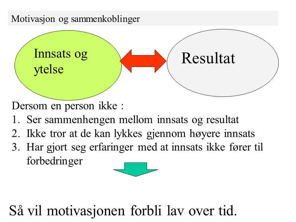 Resultat Så vil motivasjonen forbli lav over tid. Innsats og ytelse