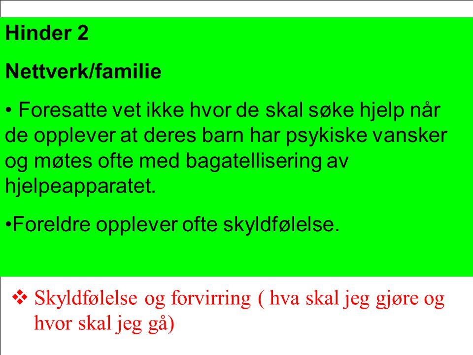 Hinder 2 Nettverk/familie.
