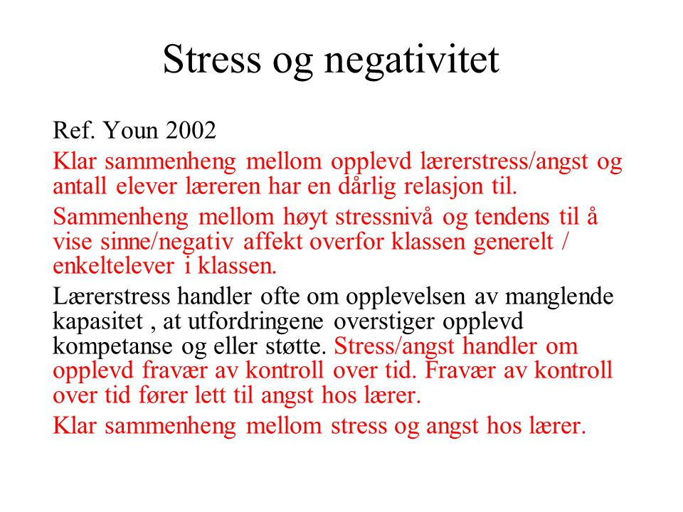 Stress og negativitet