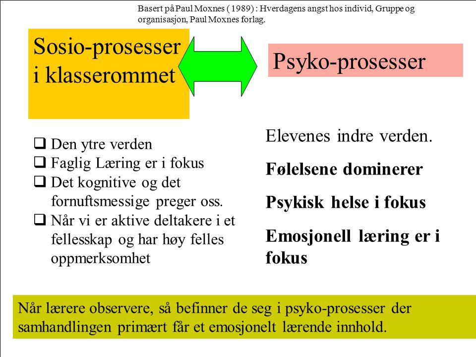 Sosio-prosesser i klasserommet Psyko-prosesser