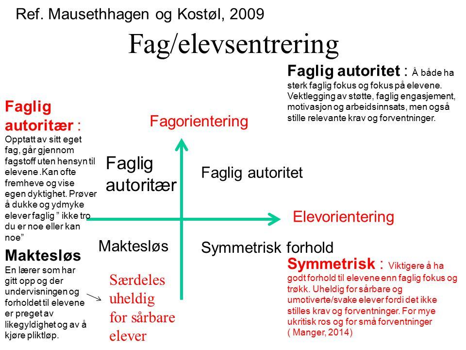 Fag/elevsentrering Faglig autoritær Ref. Mausethhagen og Kostøl, 2009