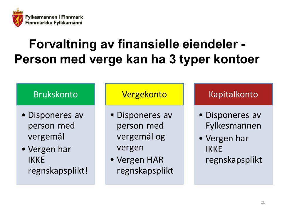 Forvaltning av finansielle eiendeler - Person med verge kan ha 3 typer kontoer
