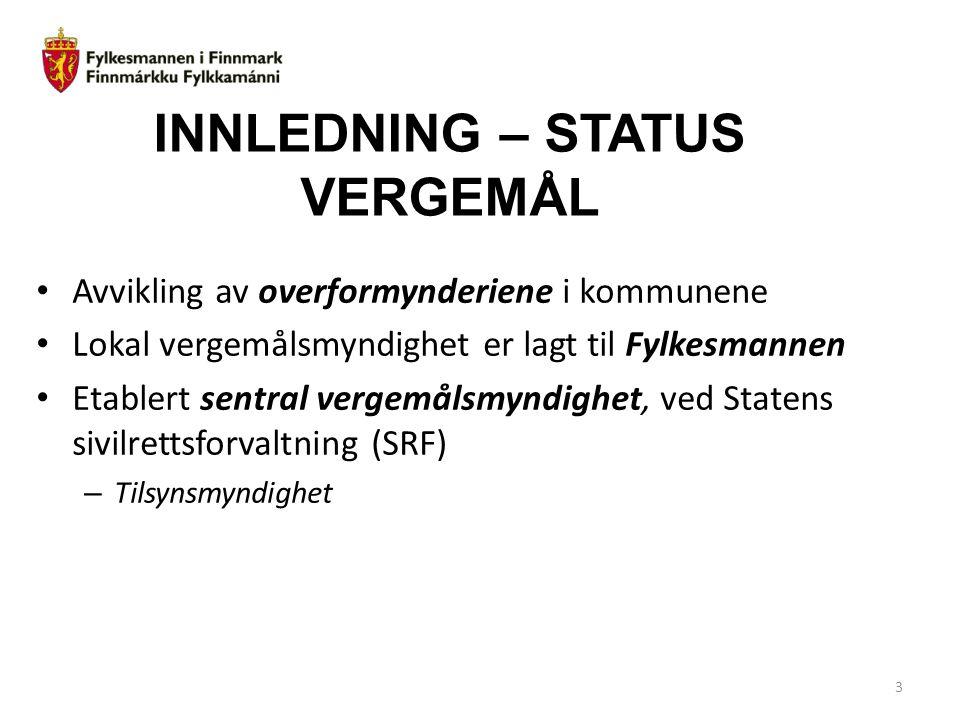 INNLEDNING – STATUS VERGEMÅL