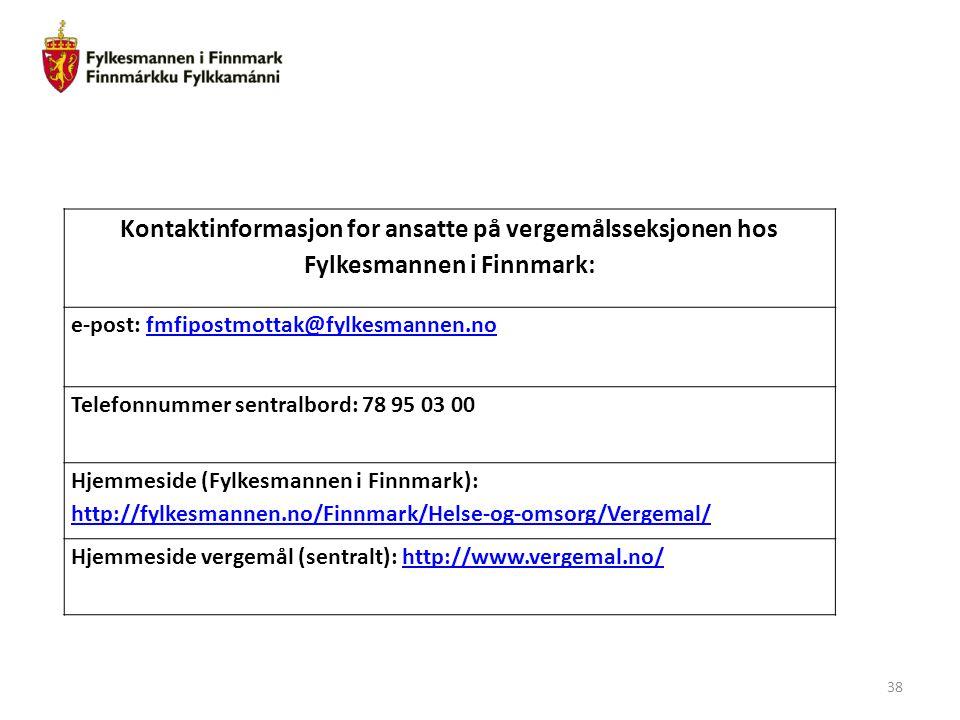 Kontaktinformasjon for ansatte på vergemålsseksjonen hos Fylkesmannen i Finnmark: