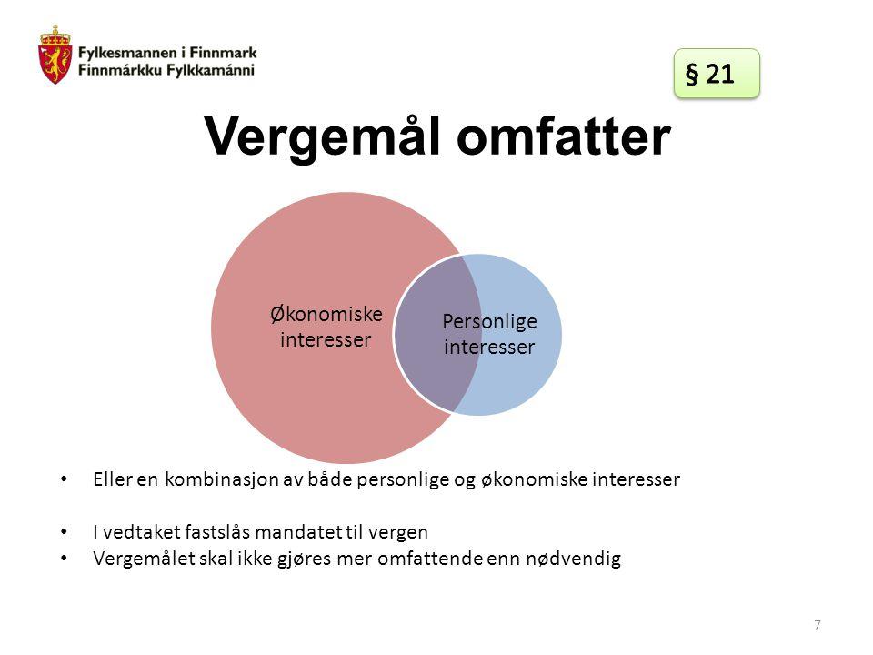 § 21 Vergemål omfatter. Økonomiske interesser. Personlige interesser. Eller en kombinasjon av både personlige og økonomiske interesser.