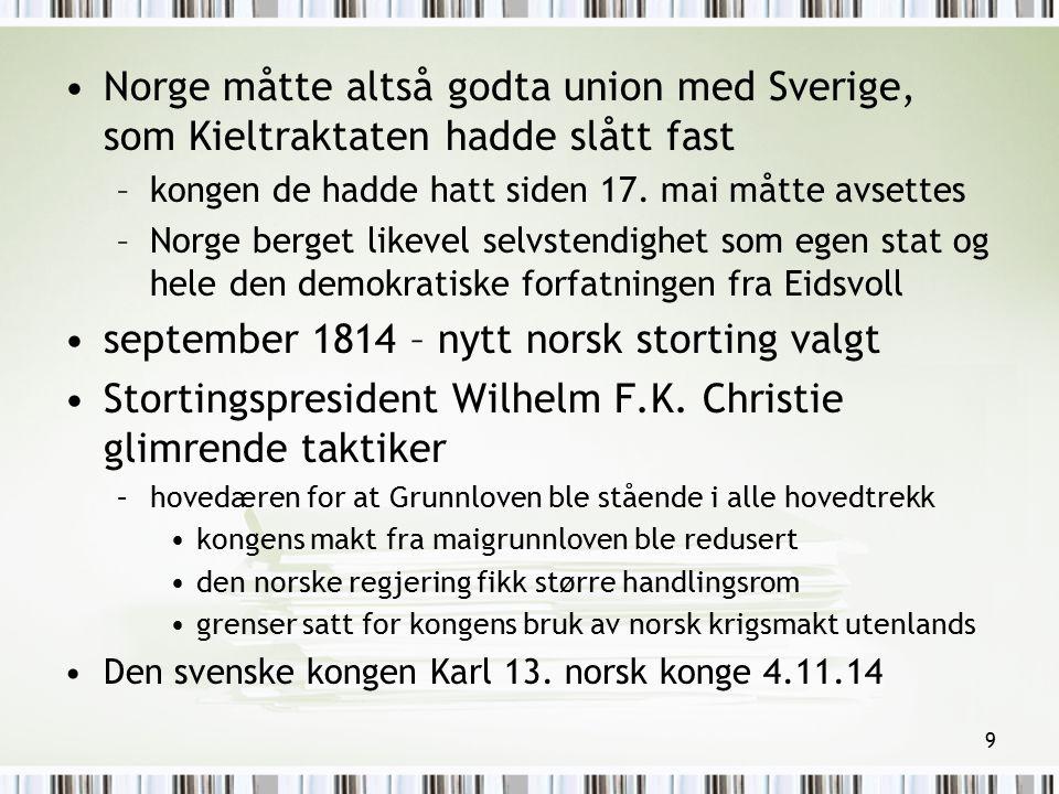 september 1814 – nytt norsk storting valgt