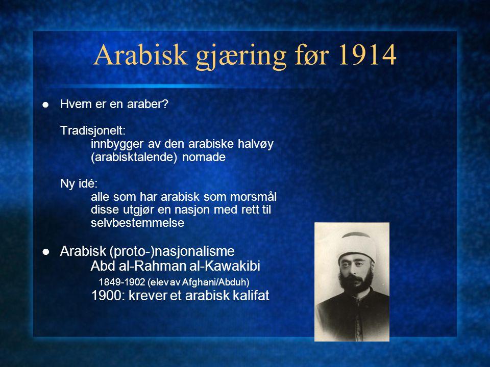 Arabisk gjæring før 1914 Arabisk (proto-)nasjonalisme