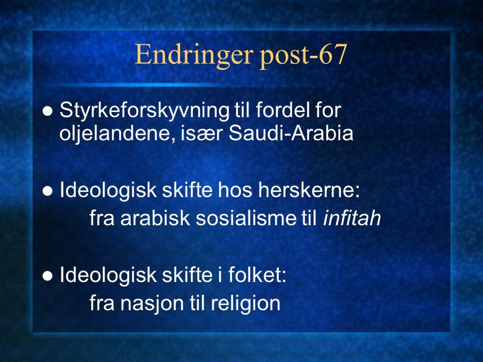 Endringer post-67 Styrkeforskyvning til fordel for oljelandene, især Saudi-Arabia. Ideologisk skifte hos herskerne: