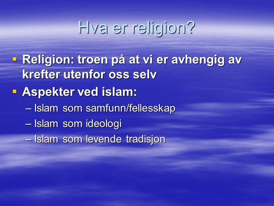 Hva er religion Religion: troen på at vi er avhengig av krefter utenfor oss selv. Aspekter ved islam: