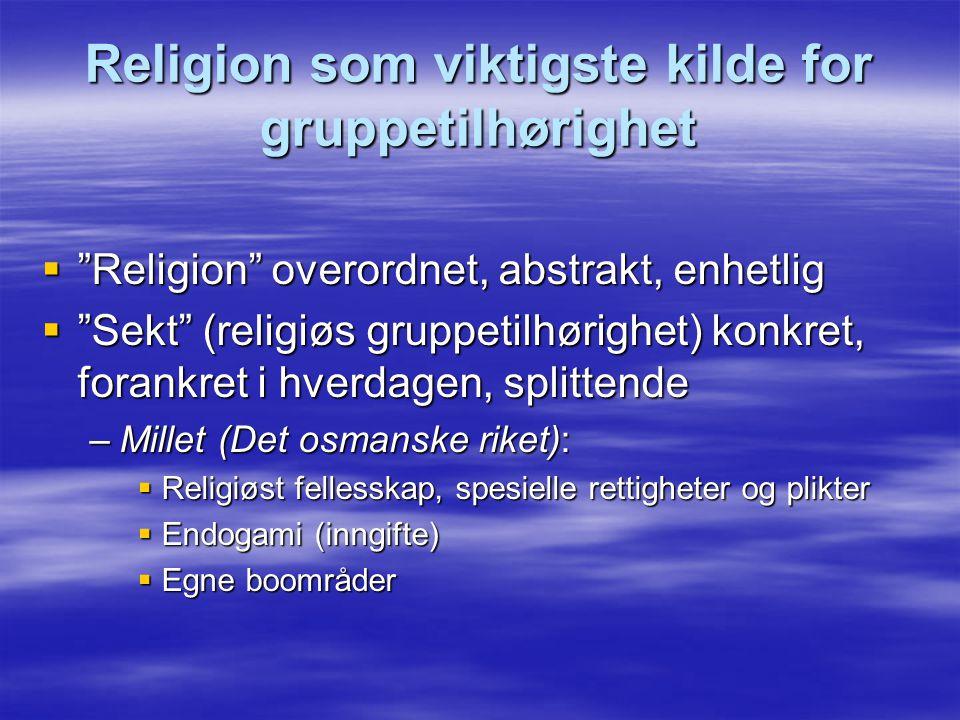 Religion som viktigste kilde for gruppetilhørighet