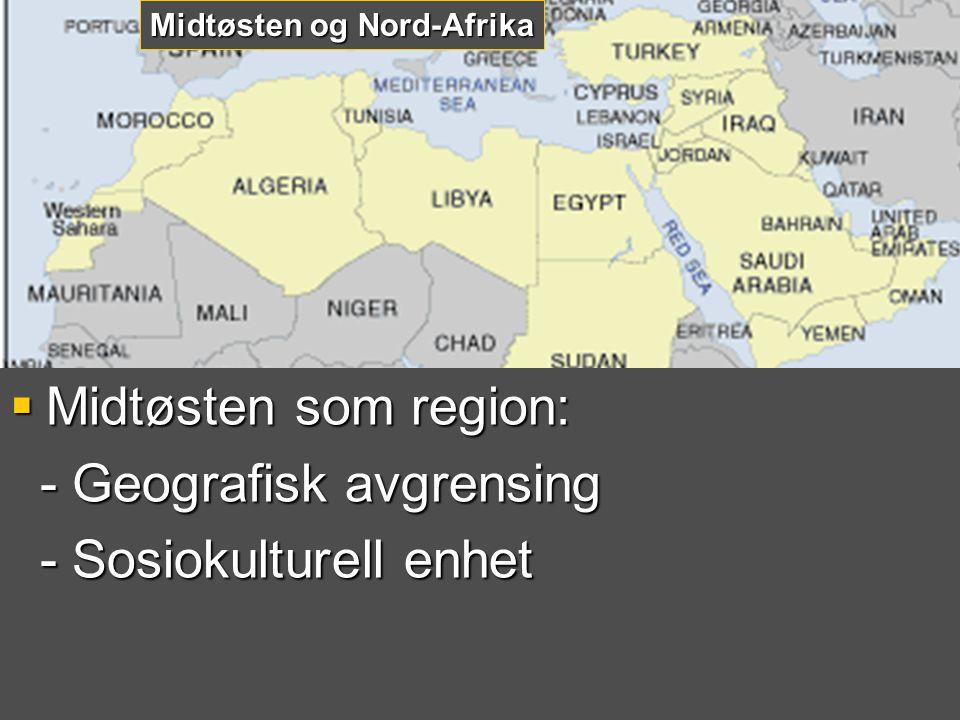 - Geografisk avgrensing - Sosiokulturell enhet