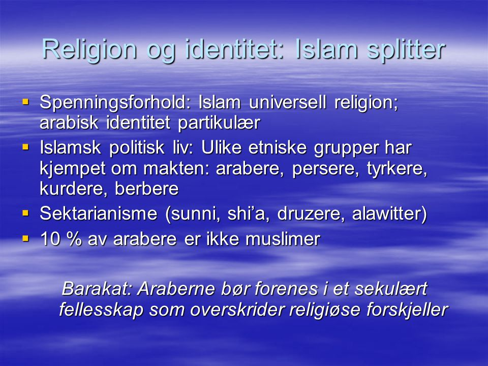 Religion og identitet: Islam splitter