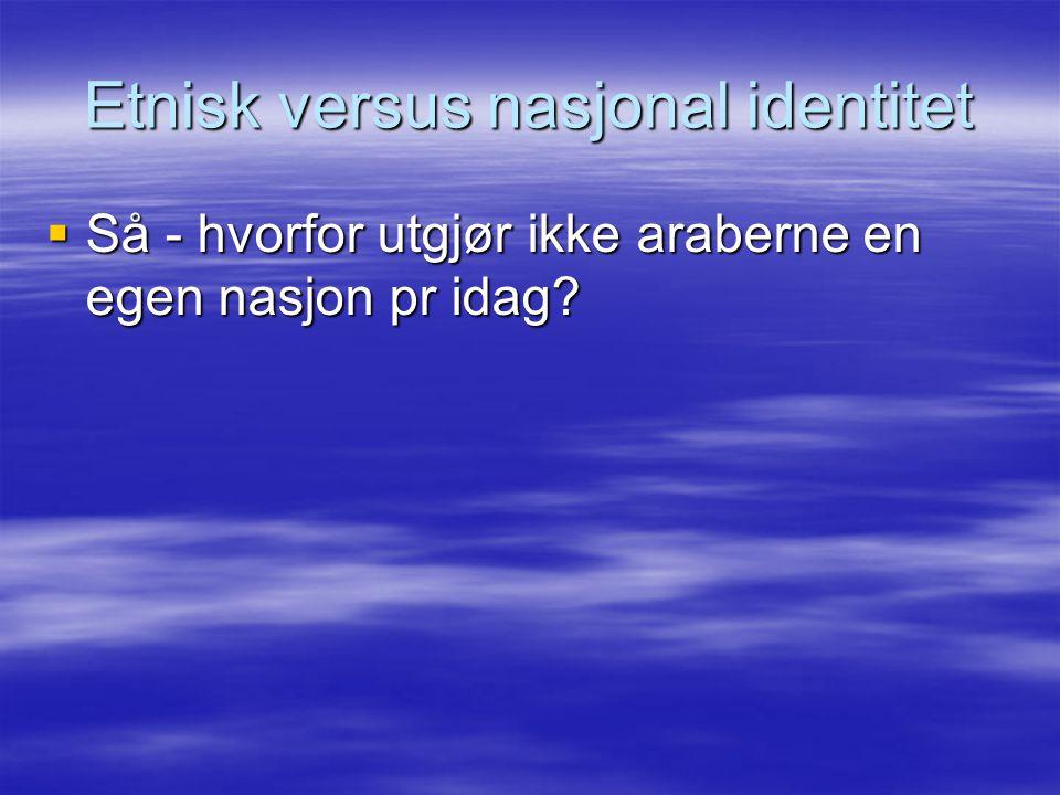 Etnisk versus nasjonal identitet