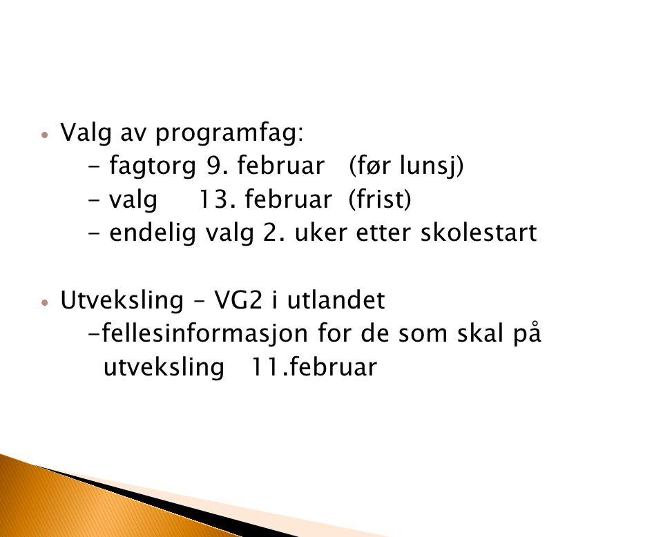 Valg av programfag: - fagtorg 9. februar (før lunsj) - valg 13. februar (frist) - endelig valg 2. uker etter skolestart.
