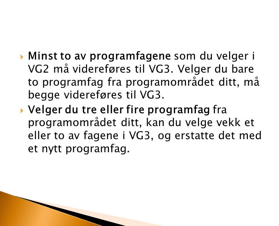 Minst to av programfagene som du velger i VG2 må videreføres til VG3