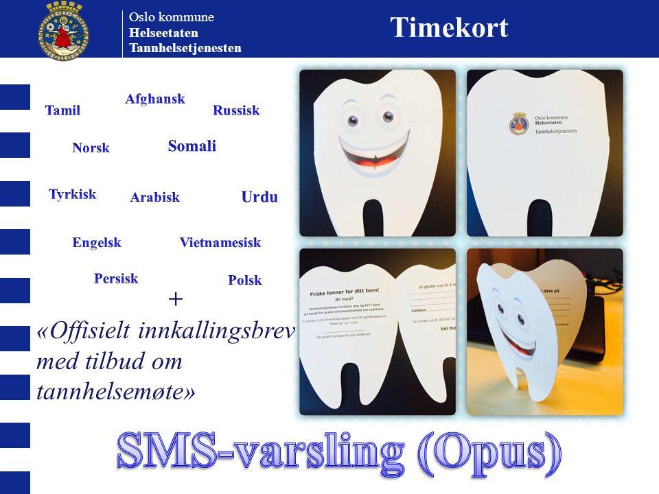 SMS-varsling (Opus) Timekort +