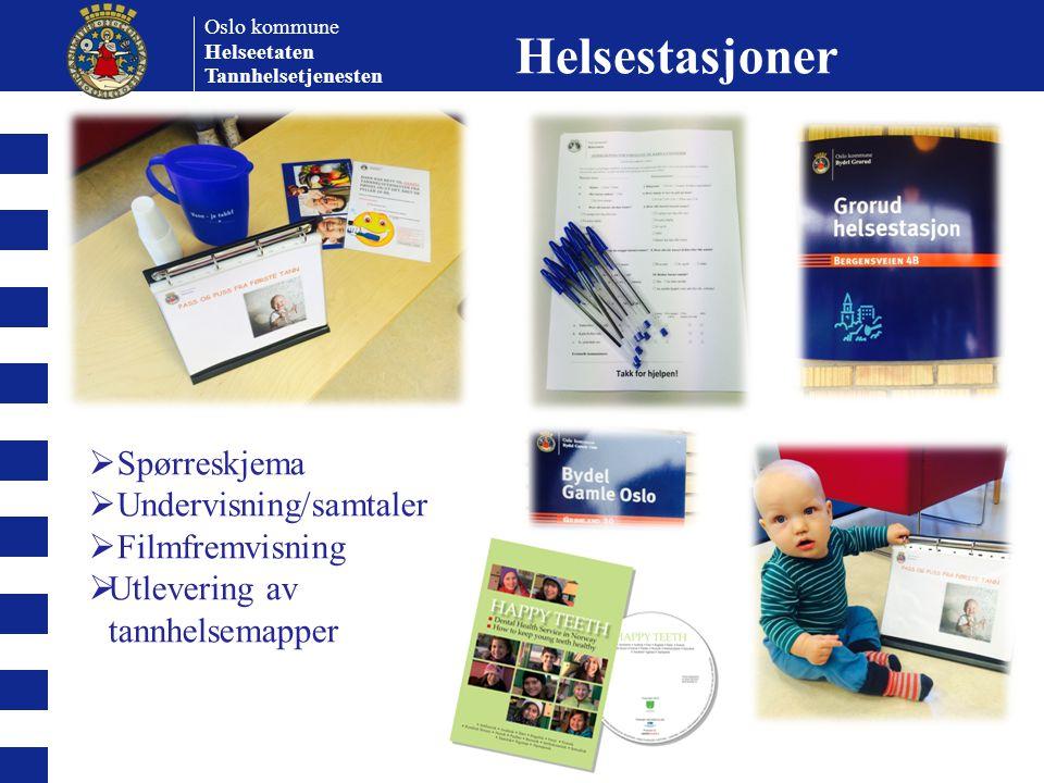 Helsestasjoner Spørreskjema Undervisning/samtaler Filmfremvisning