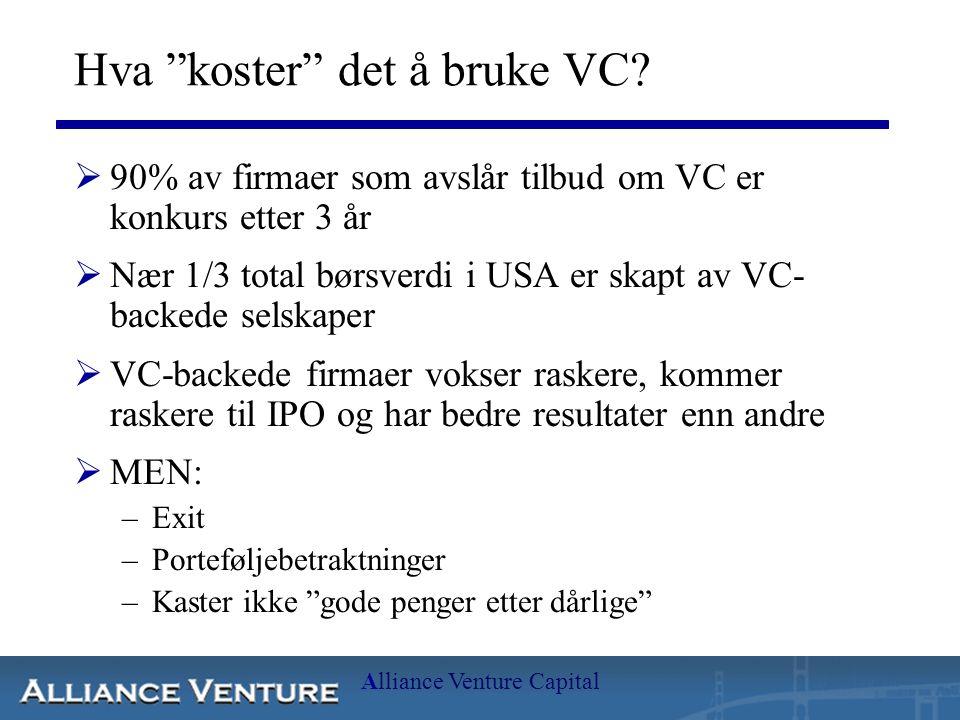 Hva koster det å bruke VC