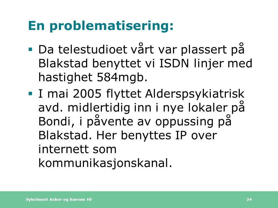 En problematisering: Da telestudioet vårt var plassert på Blakstad benyttet vi ISDN linjer med hastighet 584mgb.
