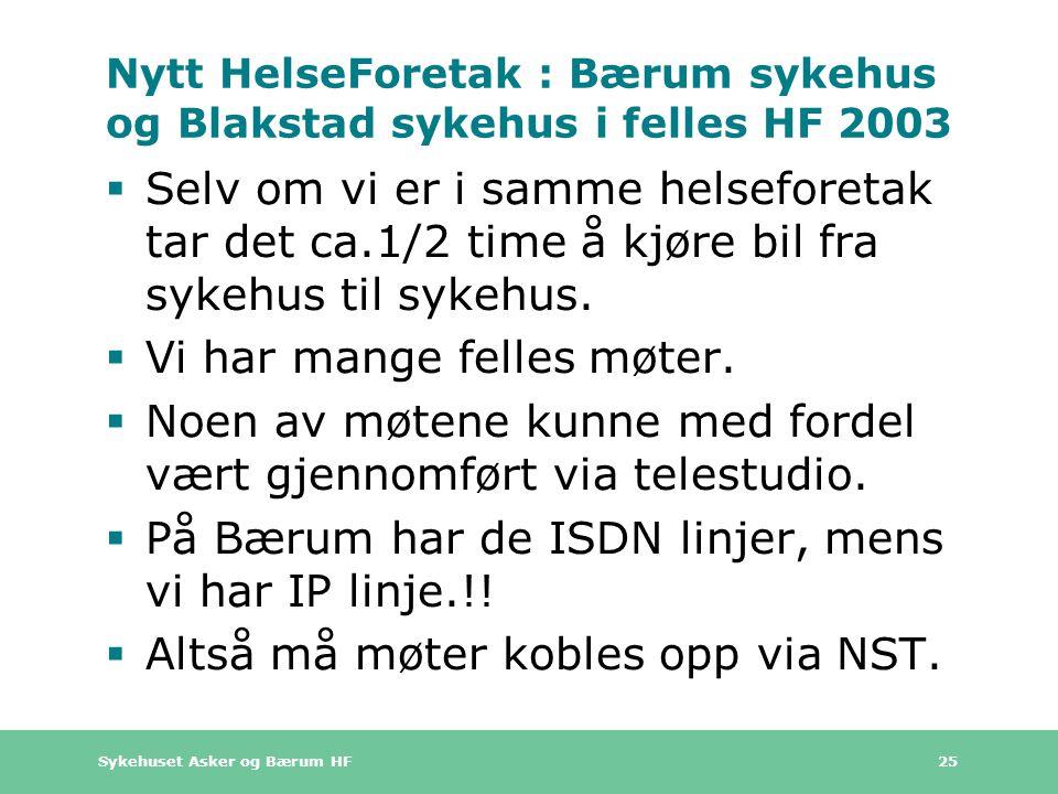 Nytt HelseForetak : Bærum sykehus og Blakstad sykehus i felles HF 2003