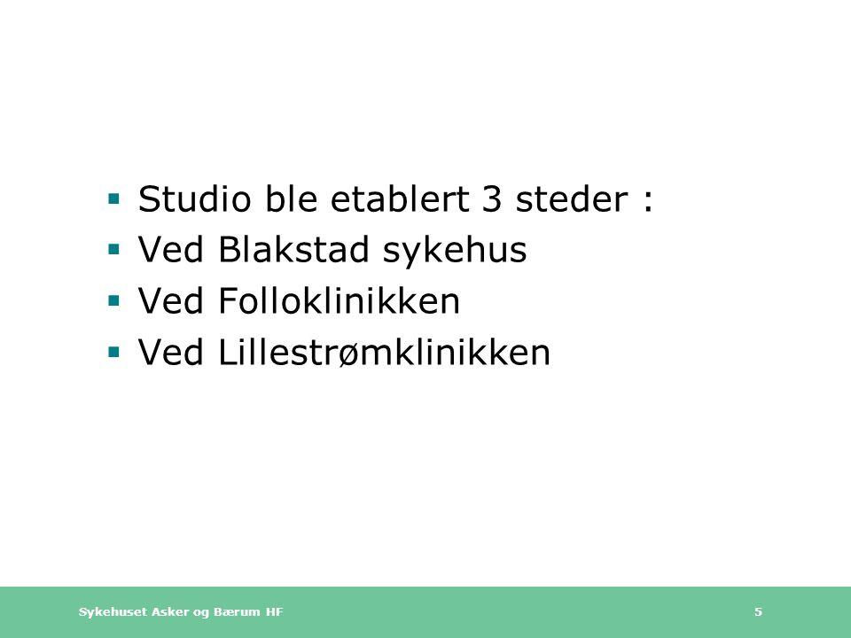 Studio ble etablert 3 steder :