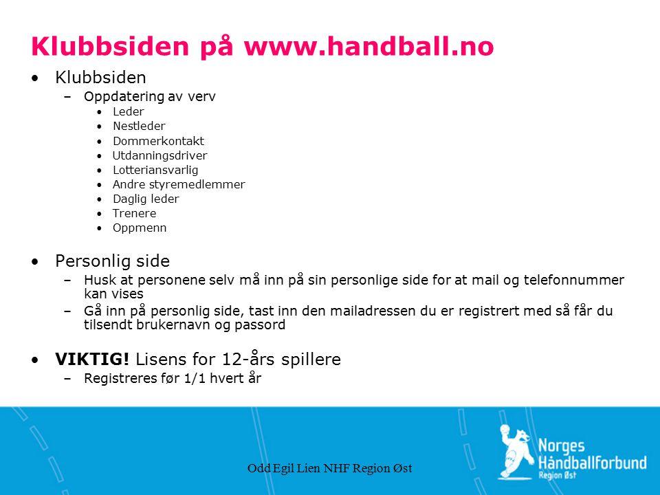 Klubbsiden på www.handball.no