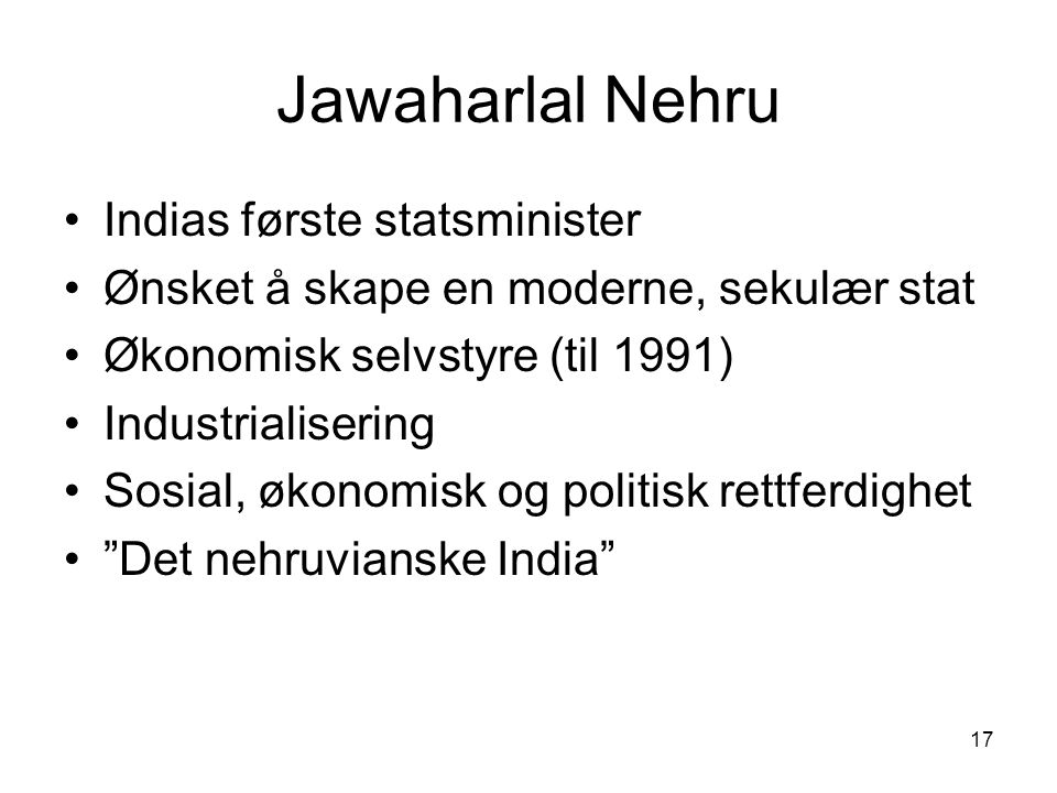 Jawaharlal Nehru Indias første statsminister