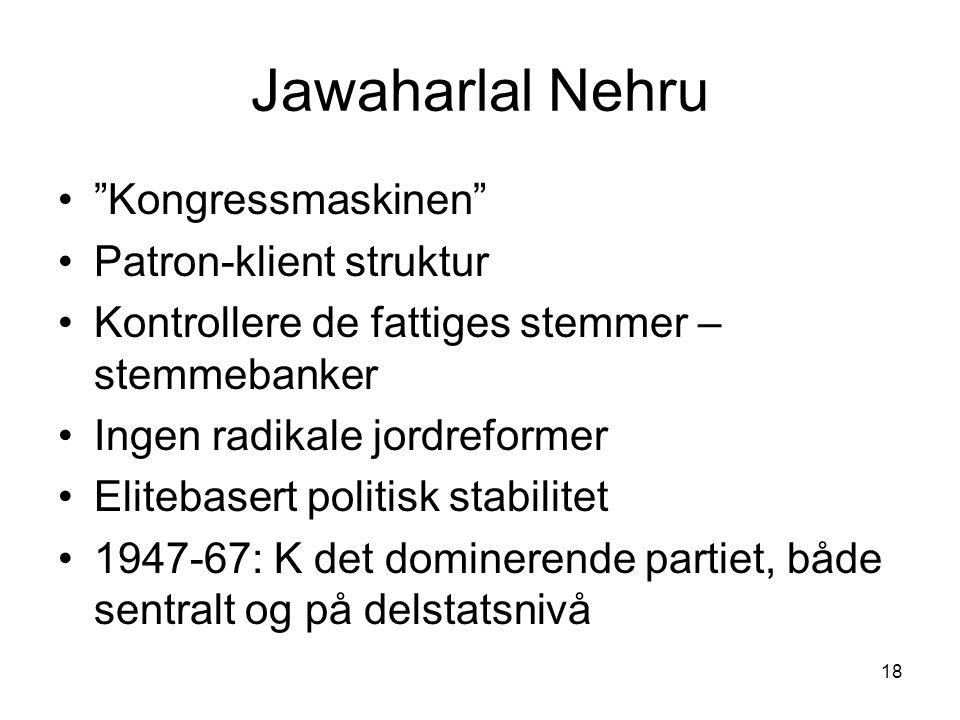 Jawaharlal Nehru Kongressmaskinen Patron-klient struktur