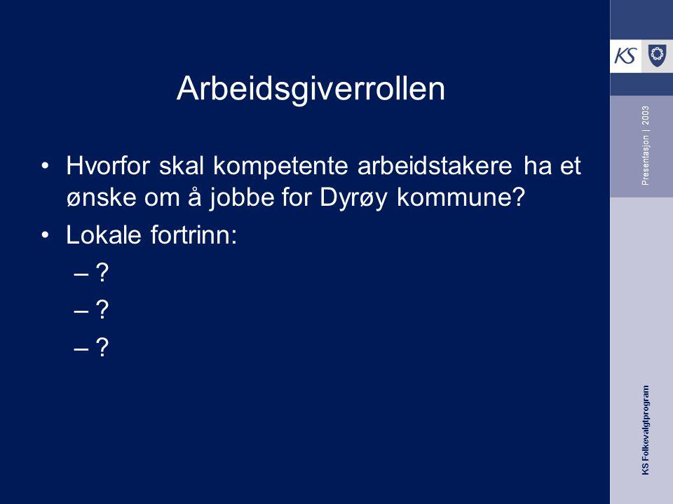 Arbeidsgiverrollen Presentasjon | 2003. Hvorfor skal kompetente arbeidstakere ha et ønske om å jobbe for Dyrøy kommune