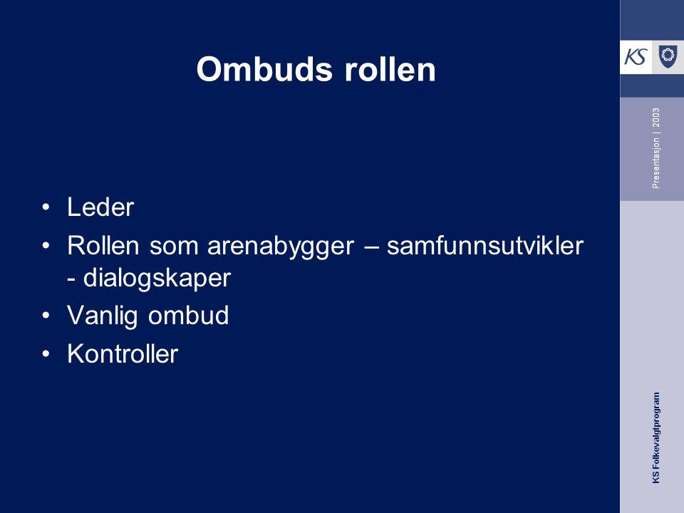 Ombuds rollen Presentasjon | 2003. Leder. Rollen som arenabygger – samfunnsutvikler - dialogskaper.