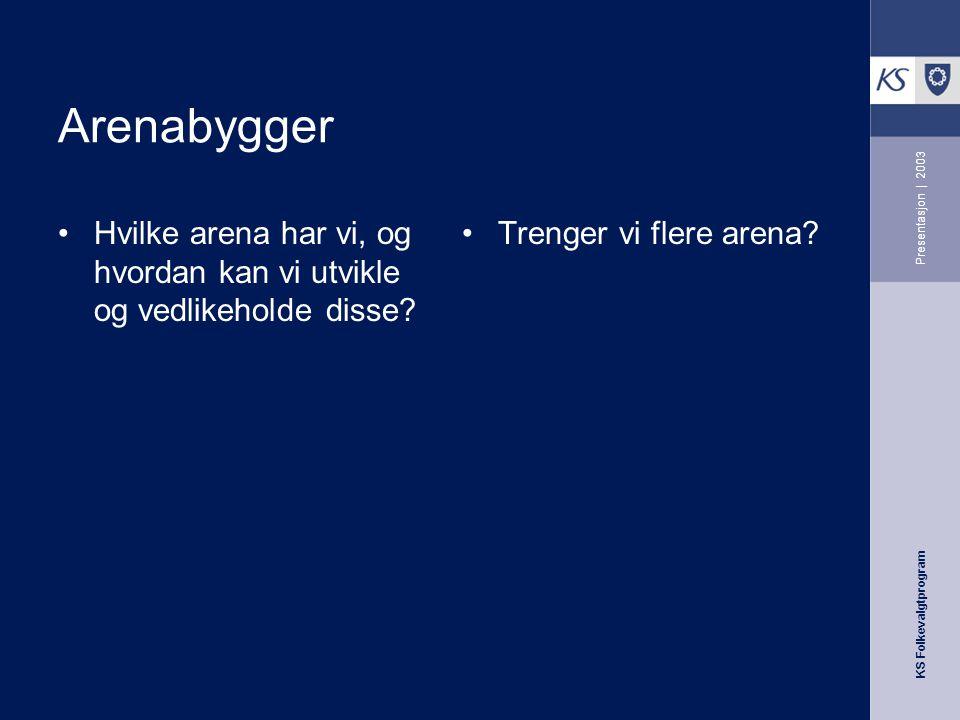 Arenabygger Presentasjon | 2003. Hvilke arena har vi, og hvordan kan vi utvikle og vedlikeholde disse
