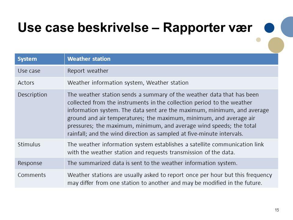Use case beskrivelse – Rapporter vær