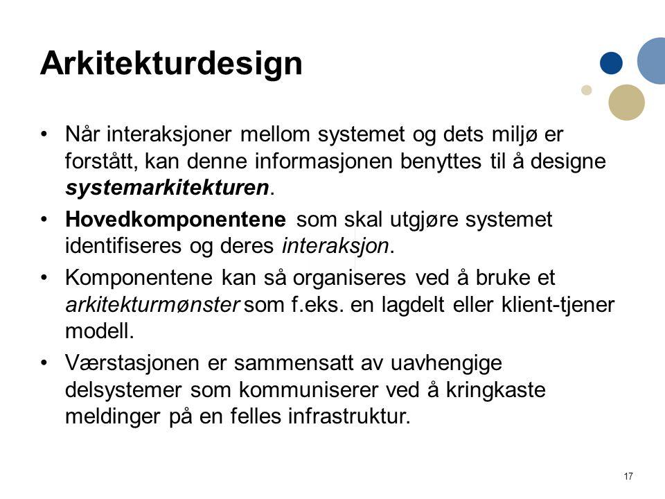 Arkitekturdesign Når interaksjoner mellom systemet og dets miljø er forstått, kan denne informasjonen benyttes til å designe systemarkitekturen.