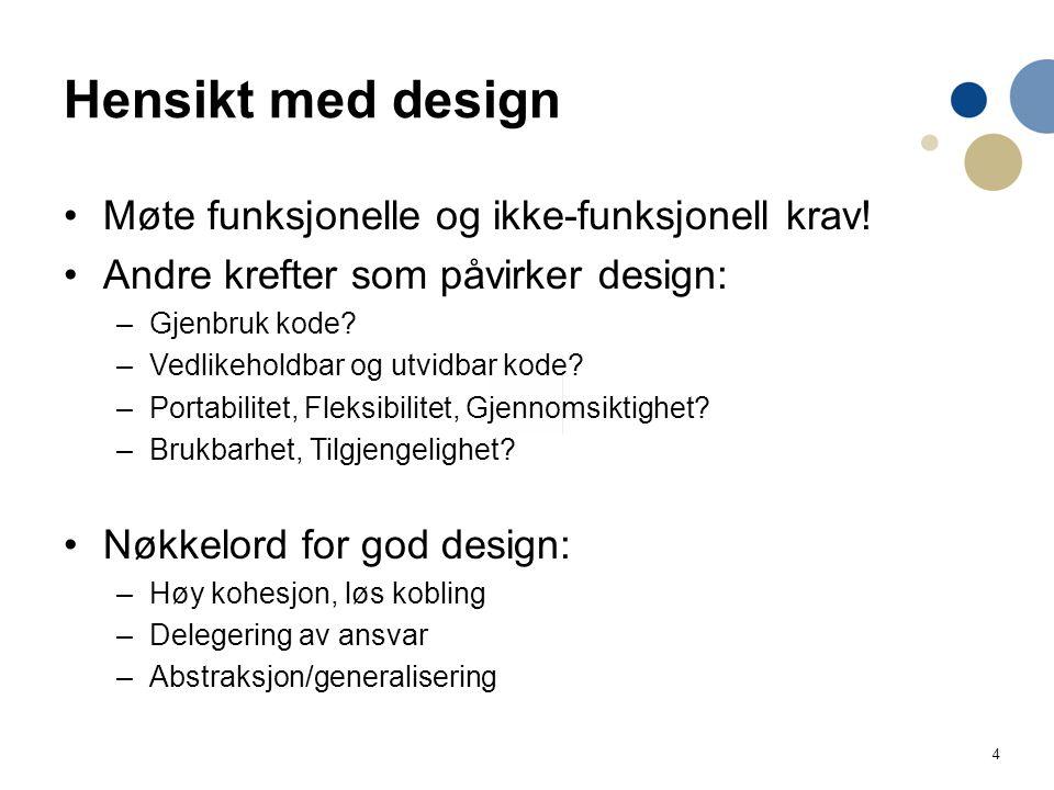 Hensikt med design Møte funksjonelle og ikke-funksjonell krav!