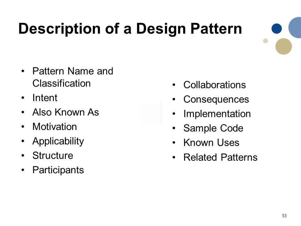 Description of a Design Pattern