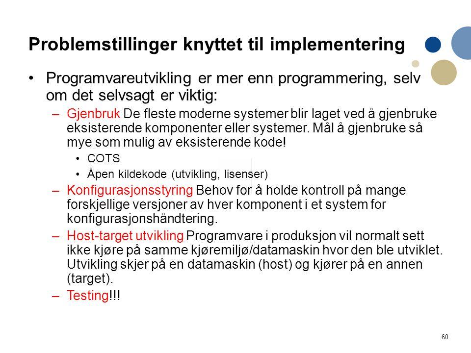 Problemstillinger knyttet til implementering