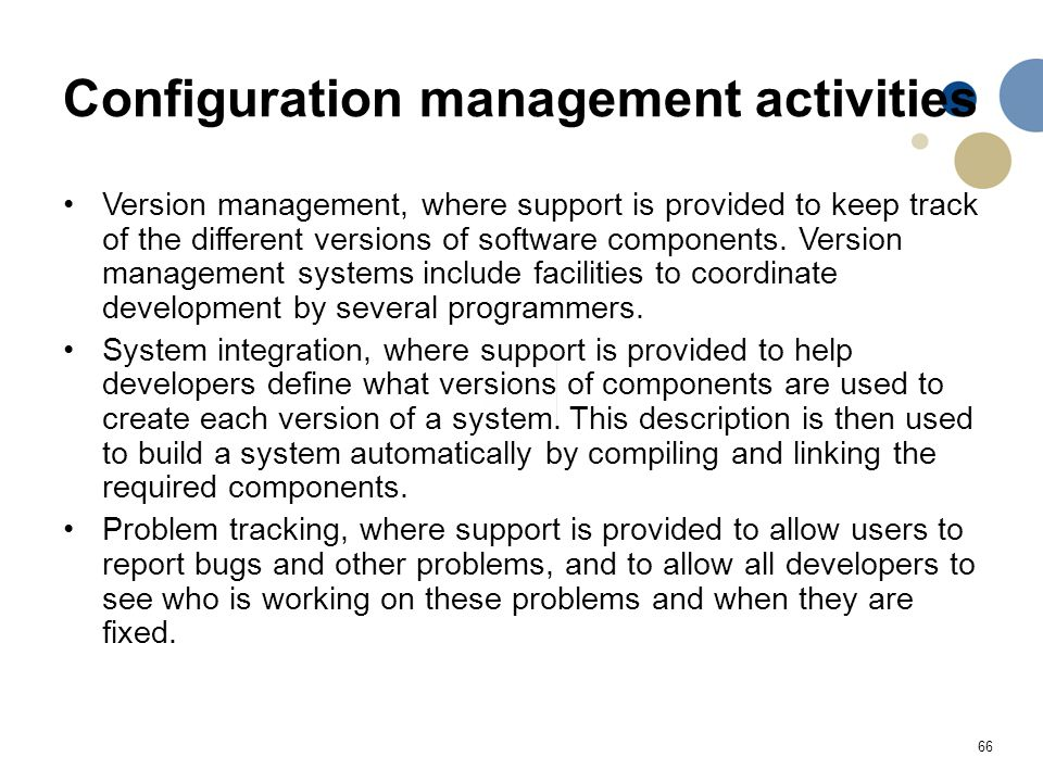 Configuration management activities