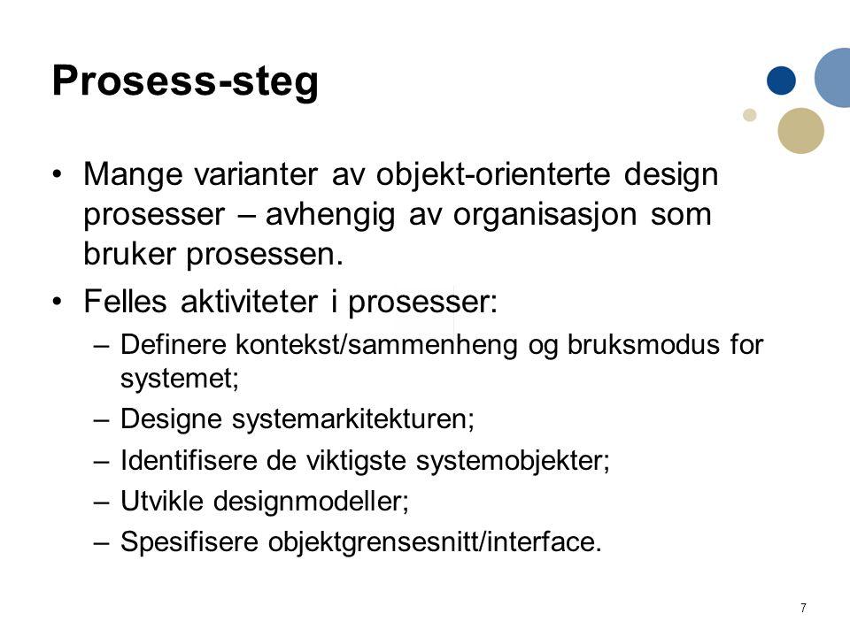 Prosess-steg Mange varianter av objekt-orienterte design prosesser – avhengig av organisasjon som bruker prosessen.