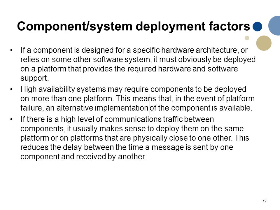 Component/system deployment factors
