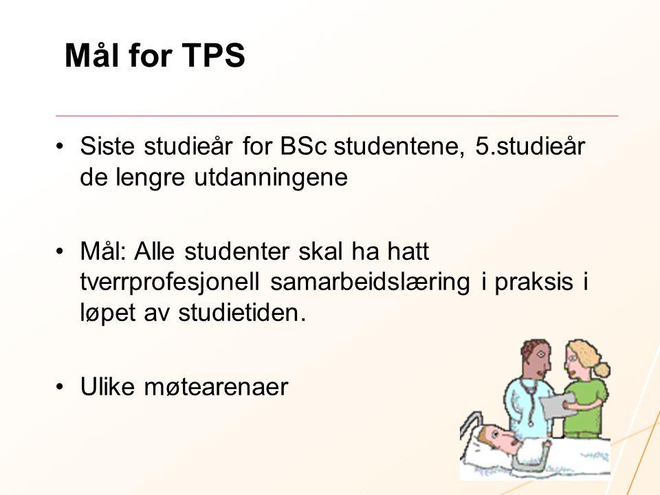 Mål for TPS Siste studieår for BSc studentene, 5.studieår de lengre utdanningene.