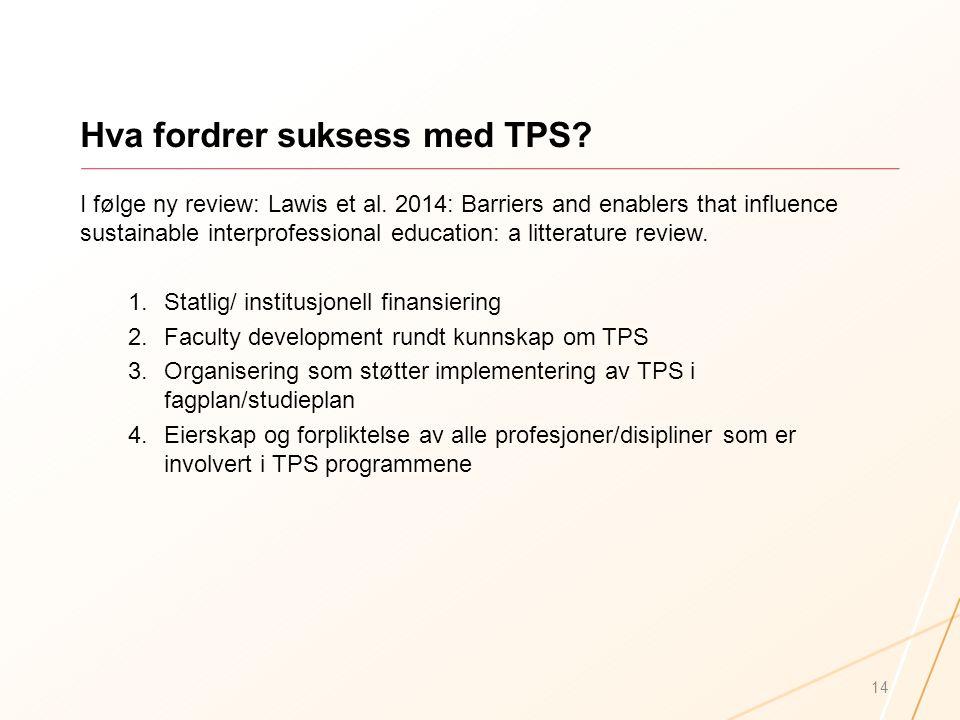 Hva fordrer suksess med TPS