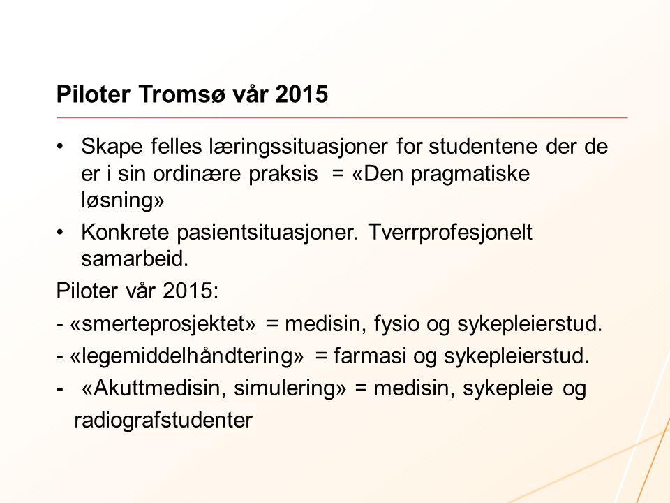 Piloter Tromsø vår 2015 Skape felles læringssituasjoner for studentene der de er i sin ordinære praksis = «Den pragmatiske løsning»