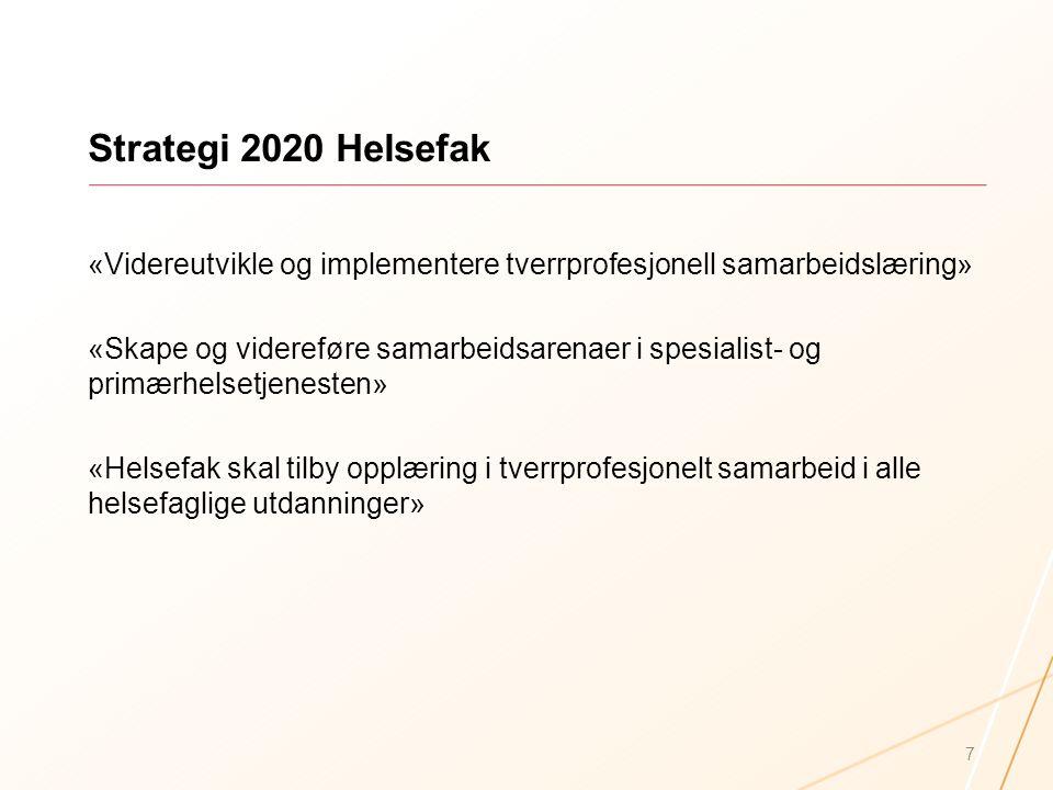 Strategi 2020 Helsefak «Videreutvikle og implementere tverrprofesjonell samarbeidslæring»