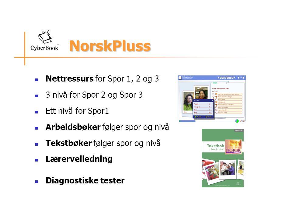 NorskPluss Nettressurs for Spor 1, 2 og 3 3 nivå for Spor 2 og Spor 3