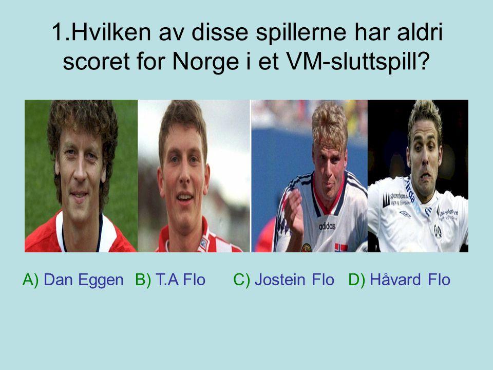 1.Hvilken av disse spillerne har aldri scoret for Norge i et VM-sluttspill