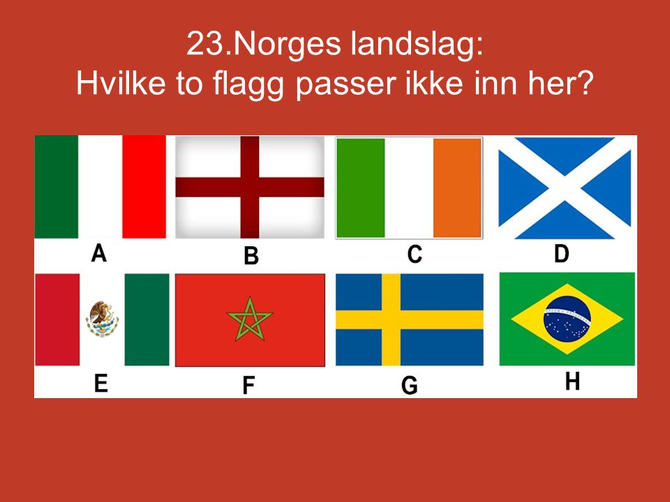 23.Norges landslag: Hvilke to flagg passer ikke inn her