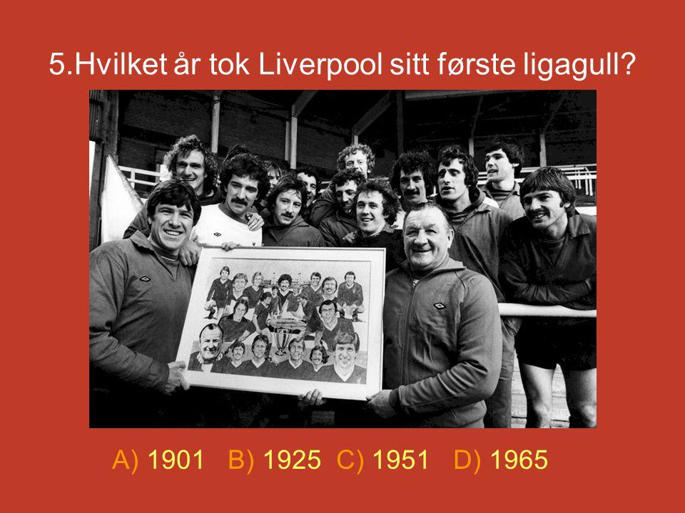 5.Hvilket år tok Liverpool sitt første ligagull